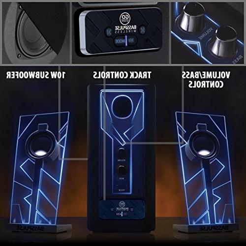GOgroove BassPULSE Bluetooth Speakers Bass Subwoofer, Lights and Wireless - Connect Your Smartphone, Tablet Devices