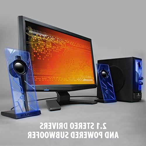GOgroove BassPULSE Computer Speakers 2.1 Bass Subwoofer, Blue Lights Wireless Your Desktop Smartphone, Tablet and More Devices
