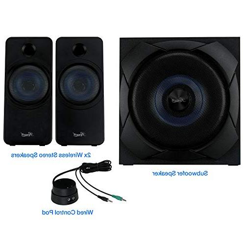 Rosewill Bluetooth System Subwoofer and Control Pod, 50 RMS Music, Computer, Gaming - BZ-200