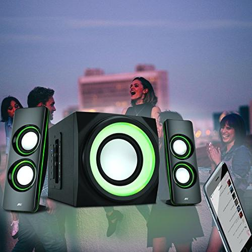 Cyber Bluetooth Speakers with Lights – The Gaming, Party, Multimedia 2.1 Speaker System
