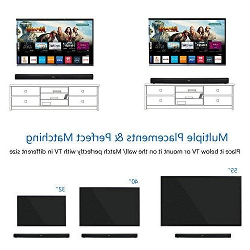 Sound Bar 40W Remote Wired Wireless Bluetooth 2.0 Channel Home Theater EQ TV Tablets Gaming, Wall Mountable, Matt Surface