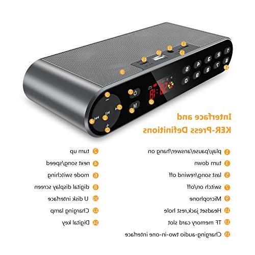 Antimi Bluetooth Player,MP3 Portable Wireless Speaker Drivers HD Sound, High Enhanced Bass