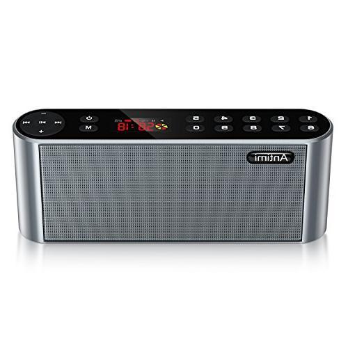 Antimi Bluetooth Speaker,FM Radio Wireless Speaker HD Microphone, High Enhanced Bass