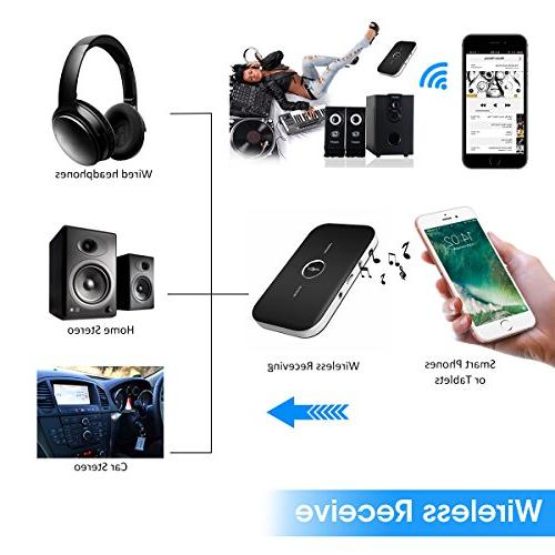 ELEGIANT Bluetooth Multi-functional 2-in-1 Wireless Audio Adapter for TV/Home Stereo Headphones Speakers MP3/MP4 and