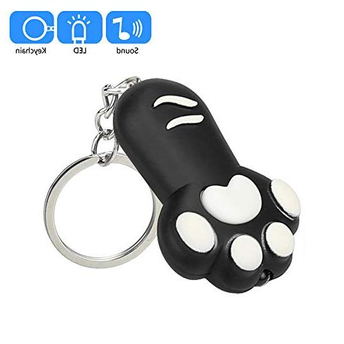 Gbell Cat Keychain Light Sound Keyfob for Girls,Kids Cute Kitten Feet for Girls Included,1
