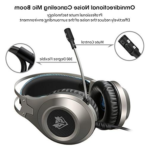 Computer Headsets, Over-Ear Gaming Headphone Microphone, Bass Volume with PS4 Nintendo Switch Laptop