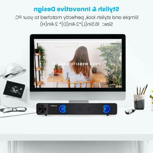 Computer Sound Bar, Wired Speakers, USB Powered Mini Soundbar For Laptop PC