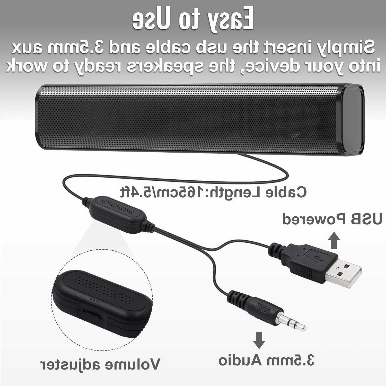 NJSJ Soundbar USB Speakers for