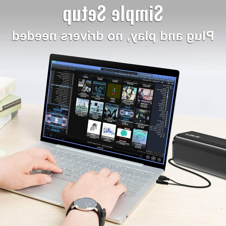 NJSJ Computer Soundbar Speaker USB Aux Speakers