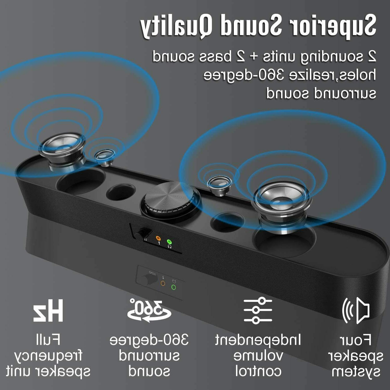 Computer Soundbar 3.5mm LED for PC Desktop
