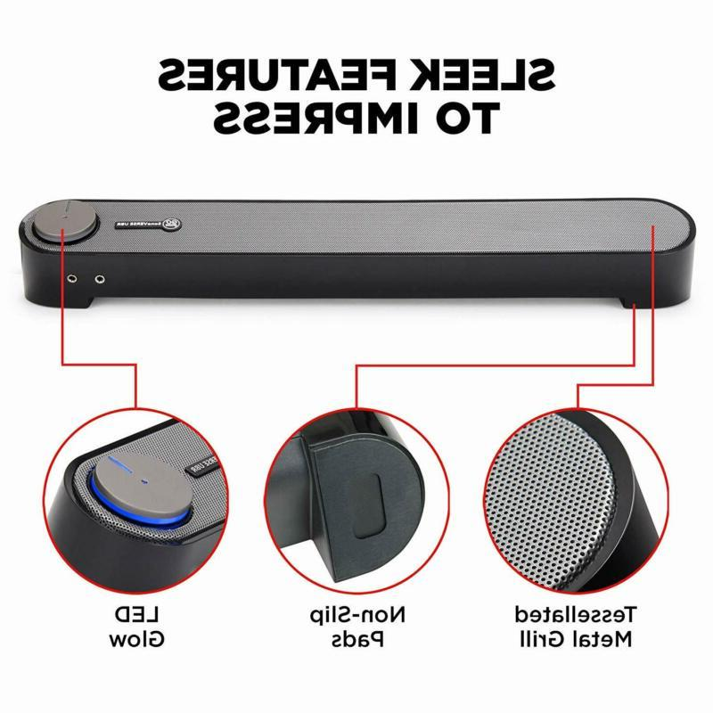 Computer Speaker - Usb Powered Pc Sound Bar With Set Gogroove