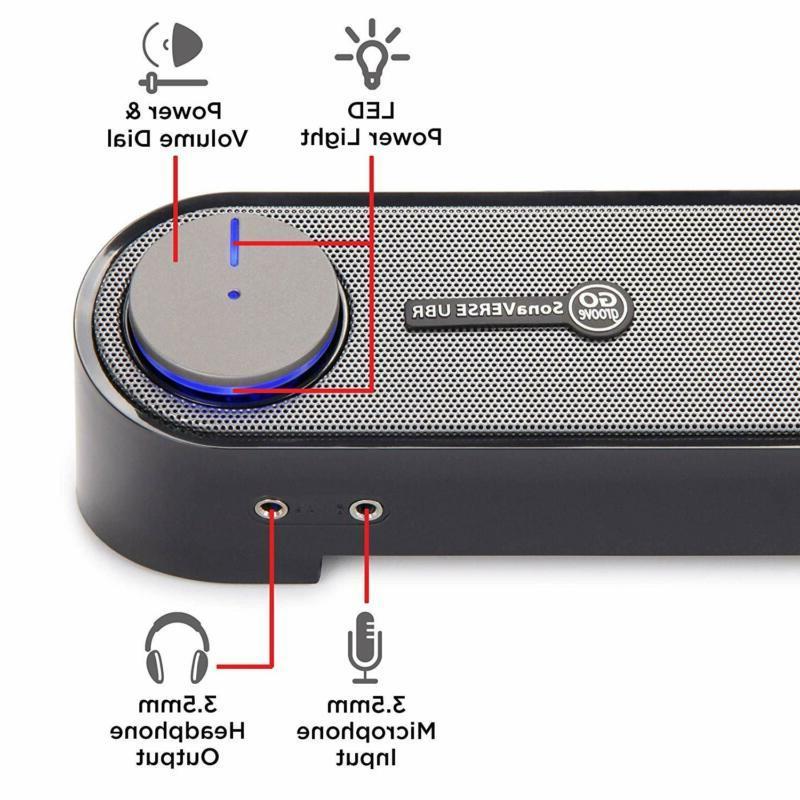 Computer Mini Soundbar - Usb Powered Sound With Easy Set