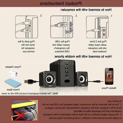 Computer Speakers 2.1 USB Desktop PC Laptop Player System Subwoofer