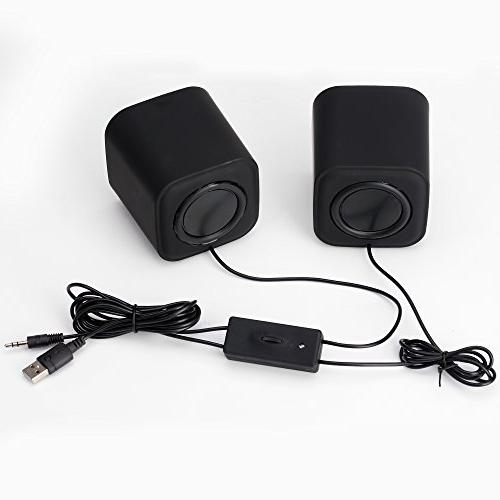 Moloroll Computer Speakers for Desktop PC, Laptop, USB Powered, Channels Dual Stereo with Less Distortion