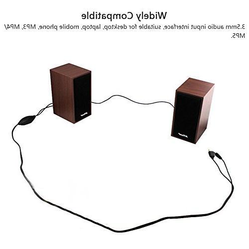 HaloVa Computer Speakers, 2.0 Powered Mini Desktop Wood Multimedia Loudspeaker for Laptop, PC, TV Tablets