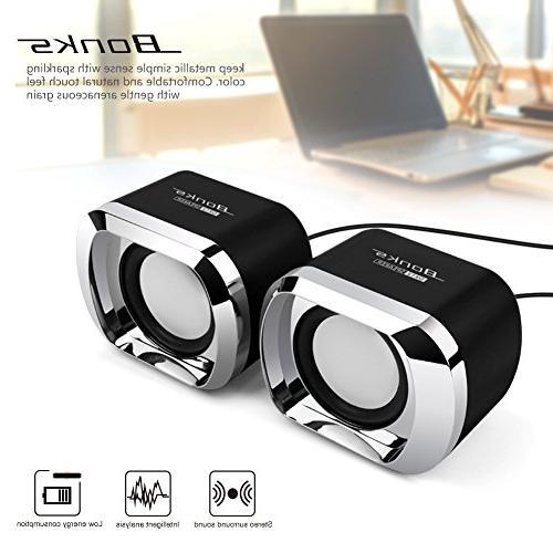 Computer Speakers BeBomBasics USB 2.0 Desktop Sound for PC or