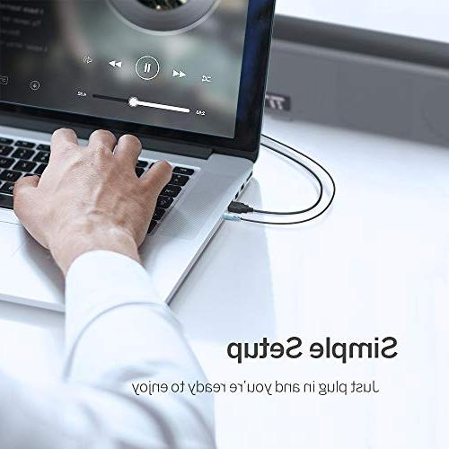 TaoTronics Computer Speakers, Wired USB Powered Mini Soundbar Speaker for PC Tablets Desktop Laptop