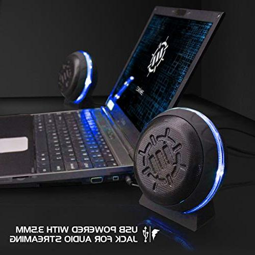 ENHANCE LED Computer with 2.0 Stereo 5 in-Line Blue USB Powered, Wired for Gaming Desktop, Laptop, PC