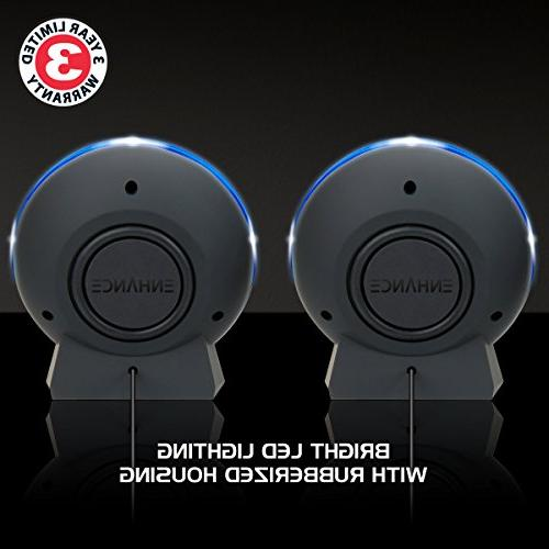 ENHANCE LED Speakers with 2.0 5 in-Line Blue Glowing Powered, 3.5mm for Gaming Desktop, Laptop, PC