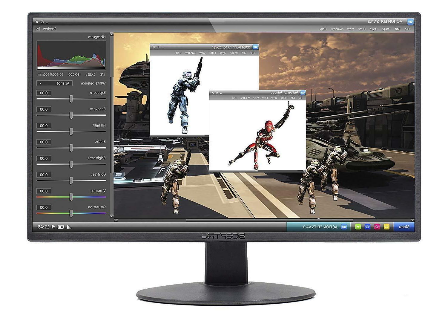 "Gaming PC Computer LED 20"" Screen HDMI DVI LED Speakers Vesa"