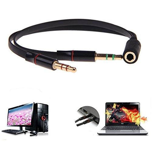 UNMCORE Gold 3.5mm Headphone Earphone Audio Y Cable For PC - Black