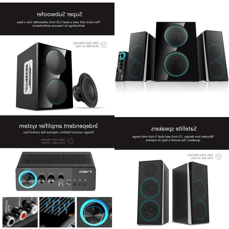 ineo wooden 2 1 gaming pc speakers