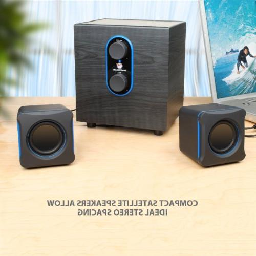 GOgroove PC Speakers w/Subwoofer SonaVERSE 3.5mm AUX Input, Bass/Volume Control RMS Alienware, ASUS, Gaming