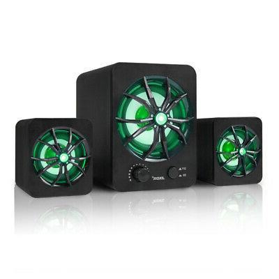 USB Wired LED Computer Music Speakers Stereo Subwoofer Bass