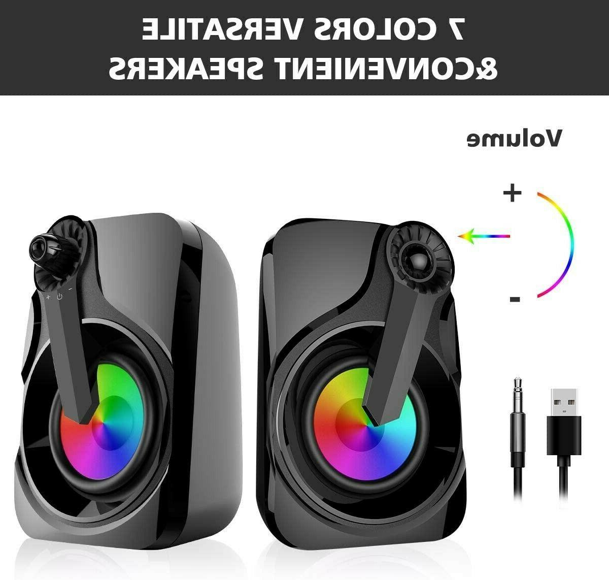 Maboo Sound Bar Speakers Computer Desktop RGB Light