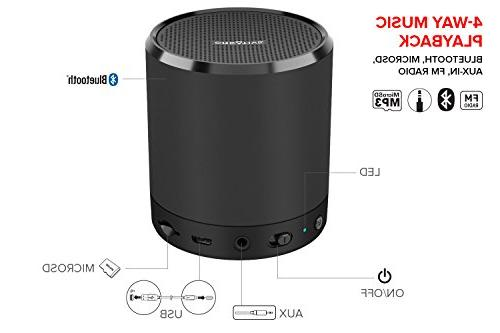 Creative Metallix Portable Mini Speaker 4.2 Wireless, 24-Hour Playtime, Music Stereo Pairing and Built-in Speakerphone