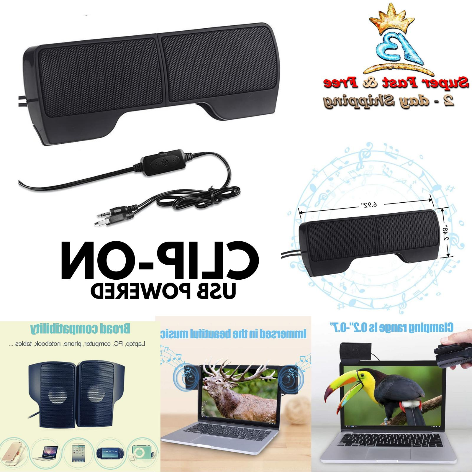 Mini Clip On Laptop Notebook PC Speakers USB Powered Wired S
