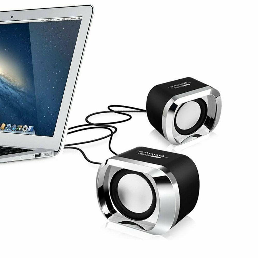 Mini Computer Speakers USB AUX Jack 3.5mm PC Desktop Laptop