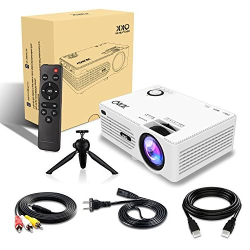 QKK Projector -Full HD Projector 1080P Supported, 50,000 Life for Theater Entertainment,Video Projector x2