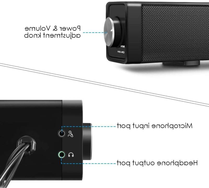 COMPUTER SPEAKER for Cellphone Laptop USB Sound Bar Stereo EIVOTOR