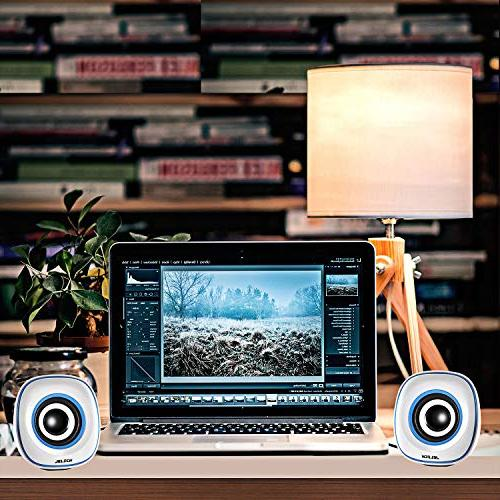 JELICH Mini Speakers Wired USB Powered Multimedia Speakers with Light for PC/Desktop/Laptops/Smart Phone