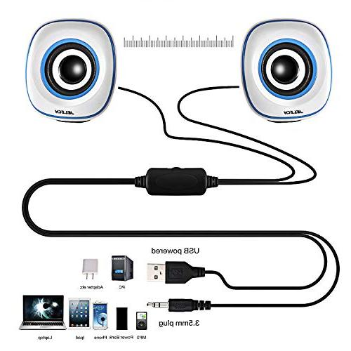JELICH Mini USB Speakers Wired USB Powered Multimedia Small with for PC/Desktop/Laptops/Smart Phone
