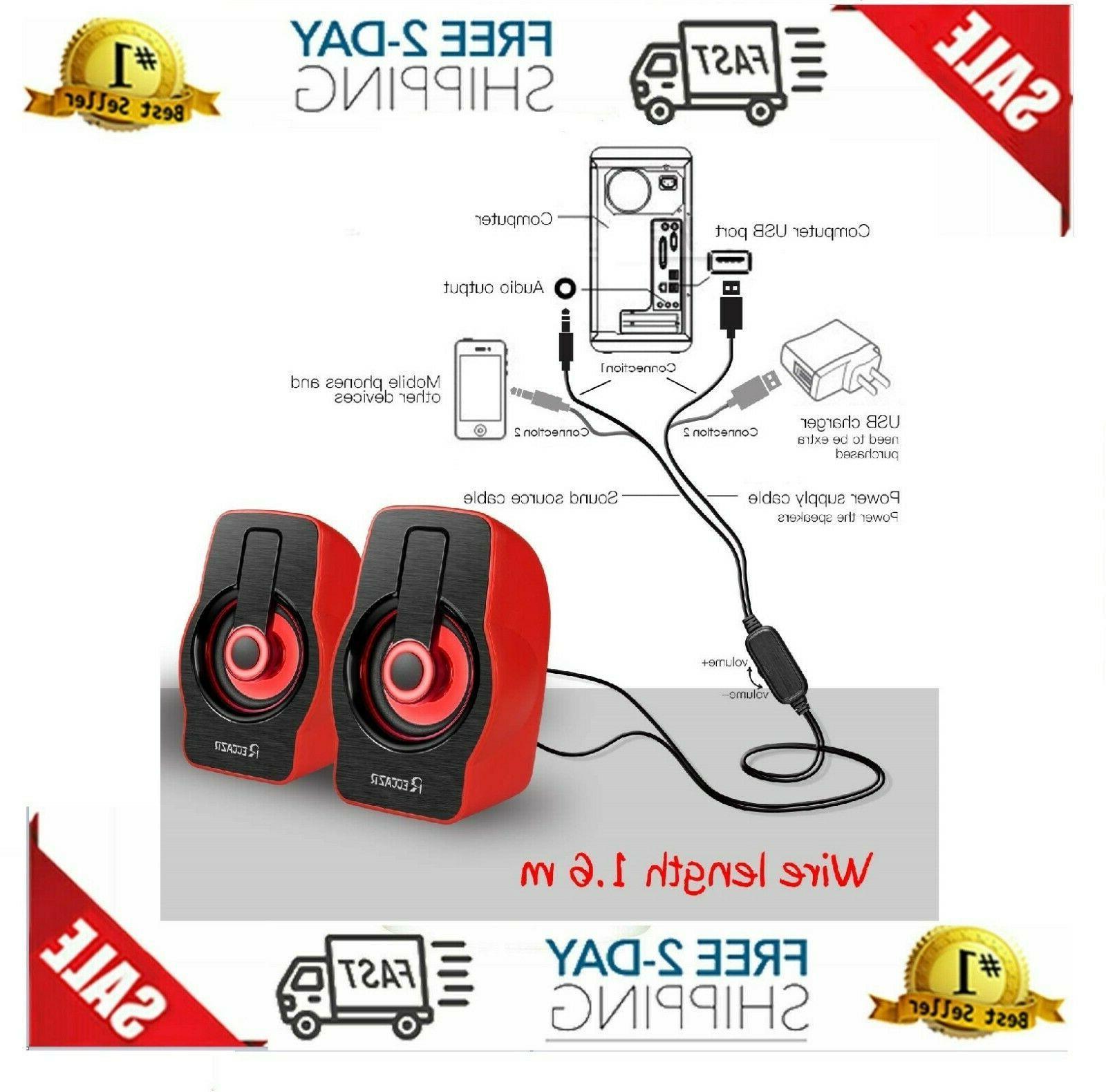 Gaming Speakers PC Sound System Bass Desktop Comput