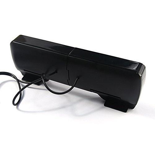 SUPVIN Clip-On USB Speaker Laptop Desktop Tablet Black