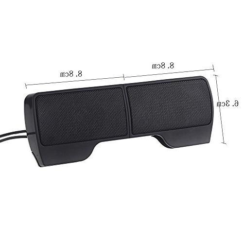 SUPVIN Portable USB Powered Multimedia Speaker Soundbar Notebook Laptop Desktop Tablet Black