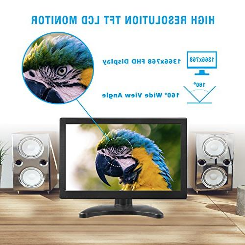 "Toguard 12"" LCD HD 1366x768 Screen with VGA MIC Port CCTV Camera PC Raspberry Use Built-in Speaker 160° Wide"