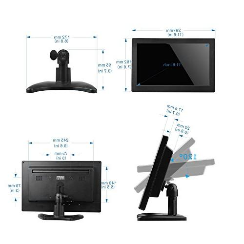 Toguard Inch TFT LCD Monitor HD 1366x768 Color Screen with HDMI MIC for Camera PC Raspberry Use Built-in Wide Viewing