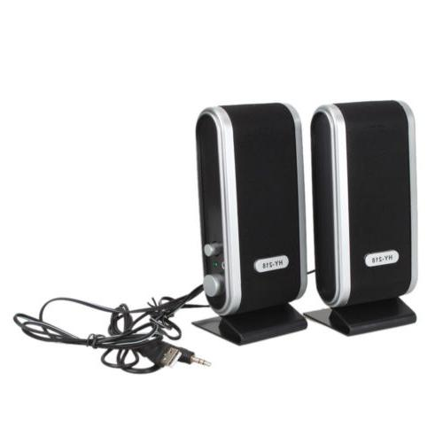 Portable Wired USB Power Computer Speakers 3.5mm Jack PC Black