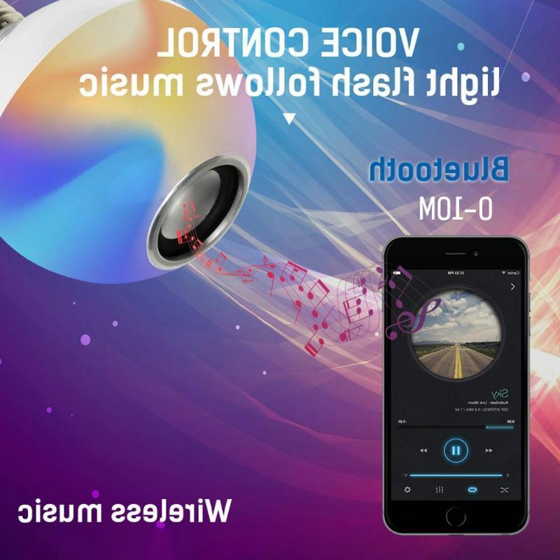 Smart E27 RGB <font><b>Speaker</b></font> LED Bulb Dimmable Remote