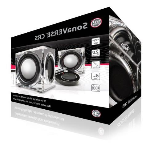 Clear USB Wired Speakers GOgroove - SonaVERSE CRS 2.0 Stereo Input Passive Woofers, 6W - Mini Ice Block for Décor