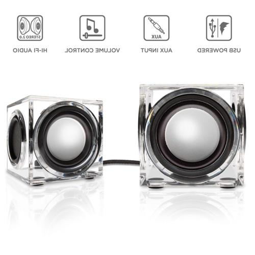 GOgroove SonaVERSE Clear Cube Wired Stereo