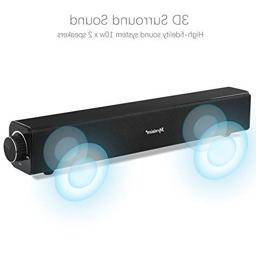 Sound Bar, 20W Wired Audio Bluetooth Home Theater TV, Projector Wireless Devices