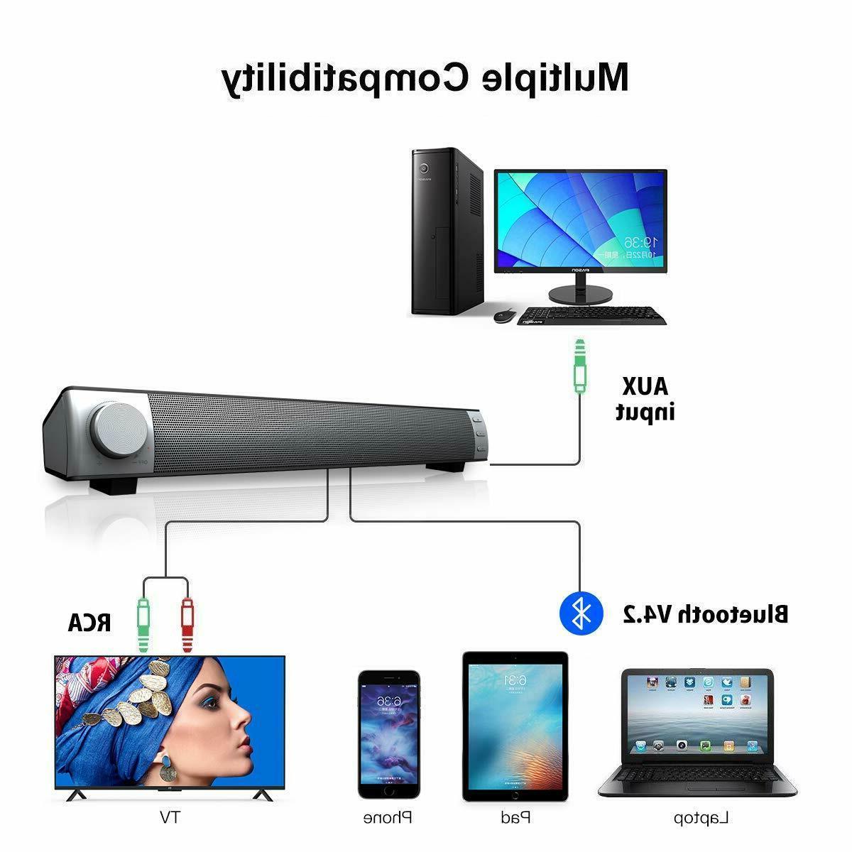 Soundbar TV Bass Monitor Desktop Laptop Aux RCA