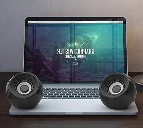 SmartStereo Computer Speakers, Wired Bass Desktop PC Phone Black