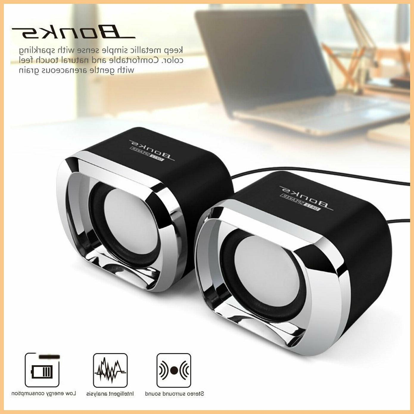 Speakers Computer USB PC Desktop Stereo Black Sound to install