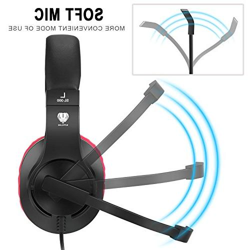 BUTFULAKE Stereo Gaming Headset for PS4, Xbox Nintendo Adjustable and OVER-ALL Isolation, Lightweight Control Mic for Laptop